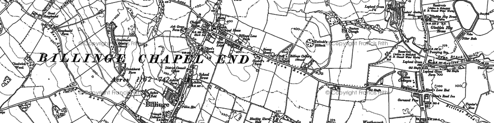 Old map of Simm's Lane End in 1892