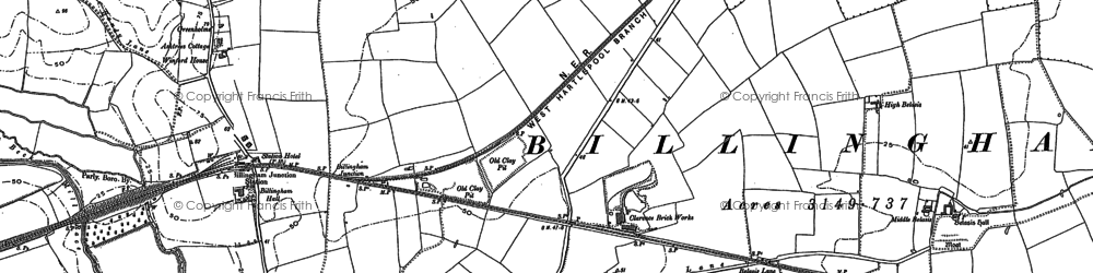 Old map of Billingham in 1856