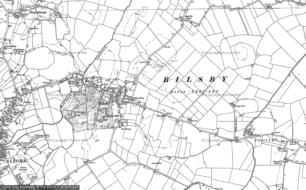 Old map of Bilsby