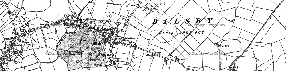 Old map of Asserby Turn in 1887
