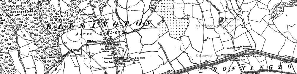 Old map of Bilsington in 1896