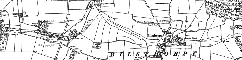 Old map of Wycar Leys in 1884