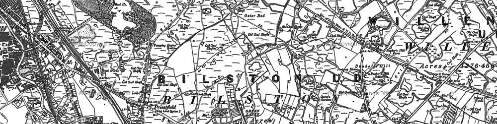 Old map of Bilston in 1885
