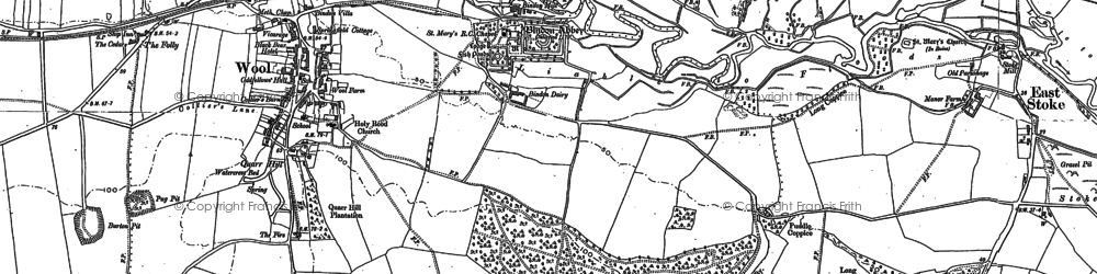 Old map of Bindon Abbey in 1886