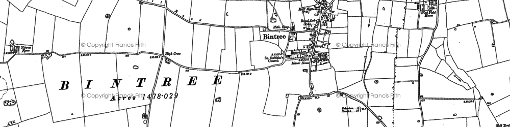 Old map of Yarrow Ho in 1885