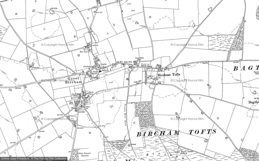 Old Map of Historic Map covering Tofts Hill in 1885