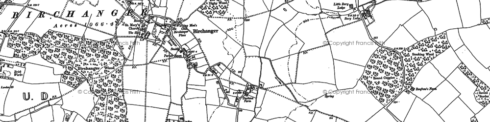 Old map of Birchanger in 1896