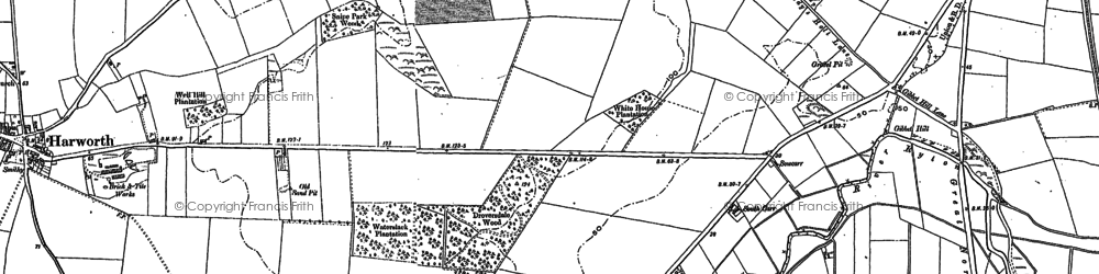 Old map of Tickhill Grange in 1885