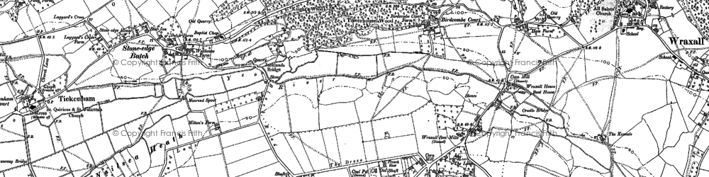 Old map of Lime Breach Wood in 1883