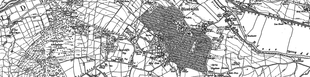 Old map of Birstwith in 1907