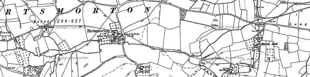 Old map of Birtsmorton in 1883