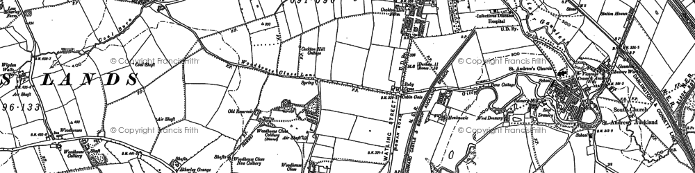 Old map of Bishop Auckland in 1896