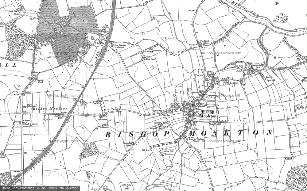 Old Map of Bishop Monkton, 1890 in 1890