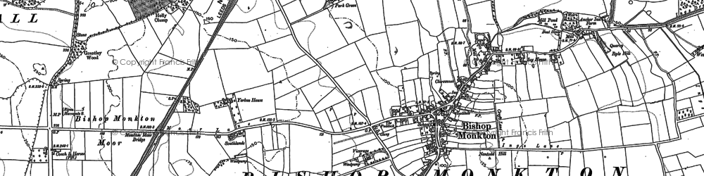 Old map of Bishop Monkton in 1890