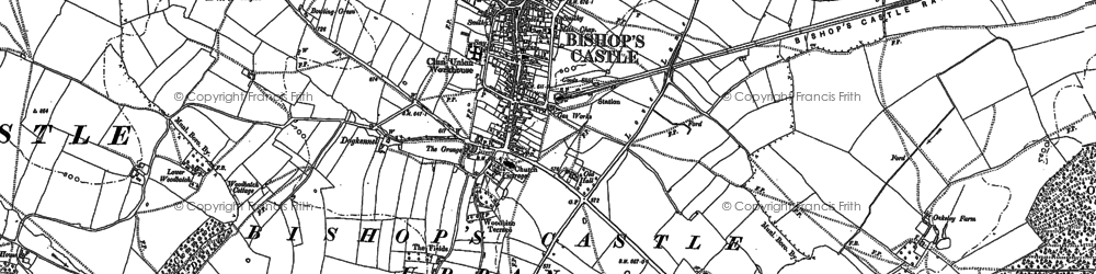 Old map of Bishop's Castle in 1883