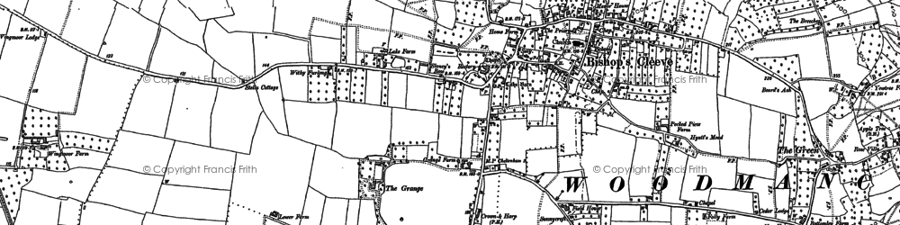 Old map of Bishop's Cleeve in 1883