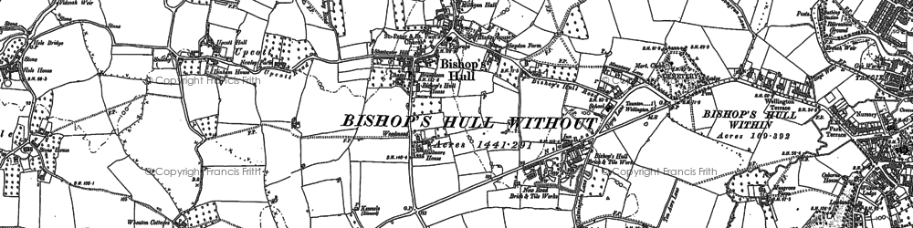 Old map of Bishop's Hull in 1887