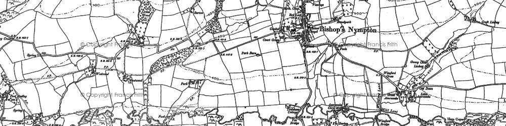 Old map of Yeo Barton in 1886