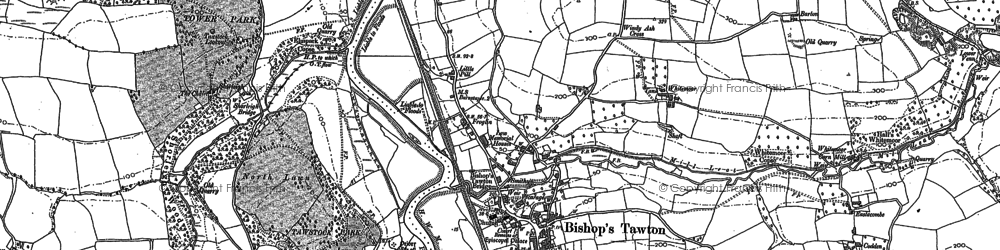 Old map of Bishop's Tawton in 1887