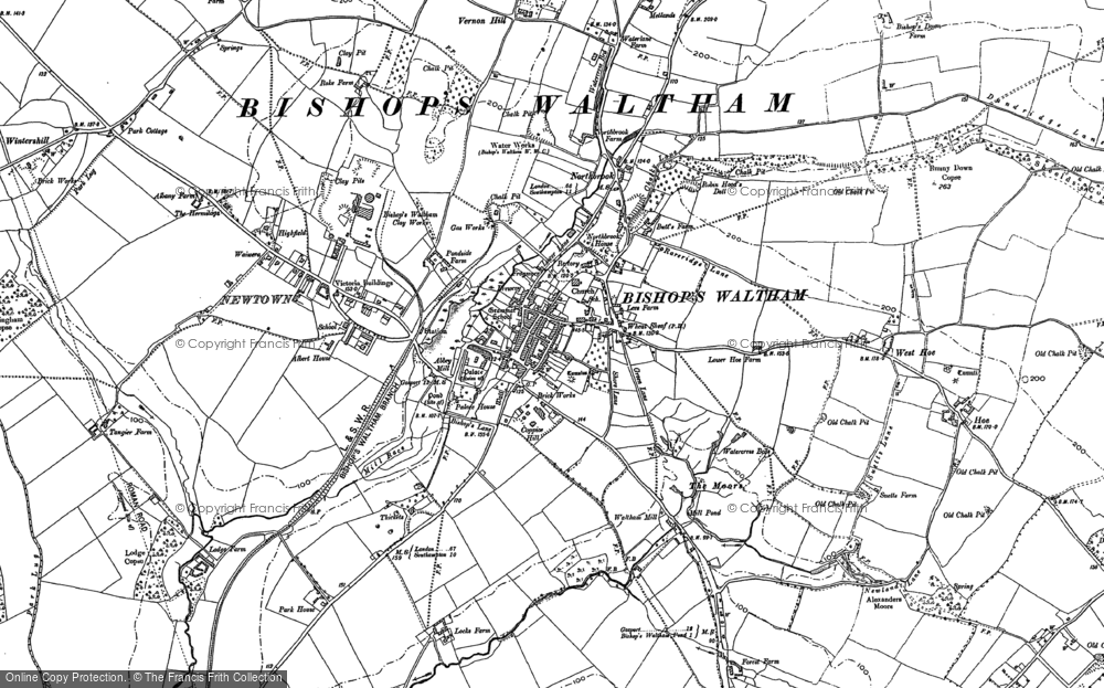 Map of Bishop's Waltham, 1895