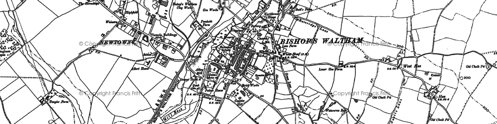 Old map of Bishop's Waltham in 1895