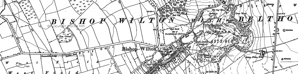 Old map of Bishop Wilton in 1890