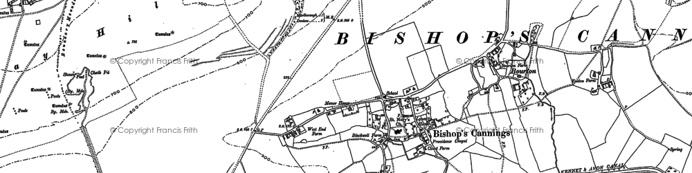 Old map of Bishops Cannings in 1899