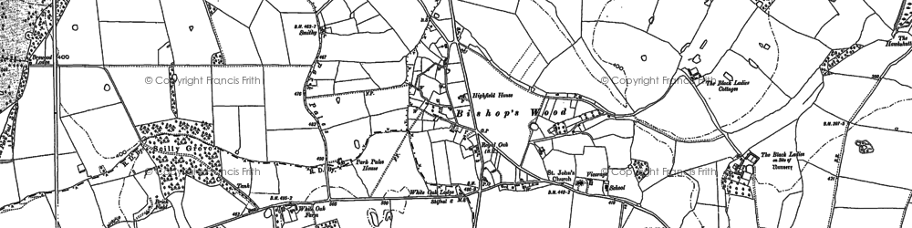 Old map of White Ladies Priory in 1896