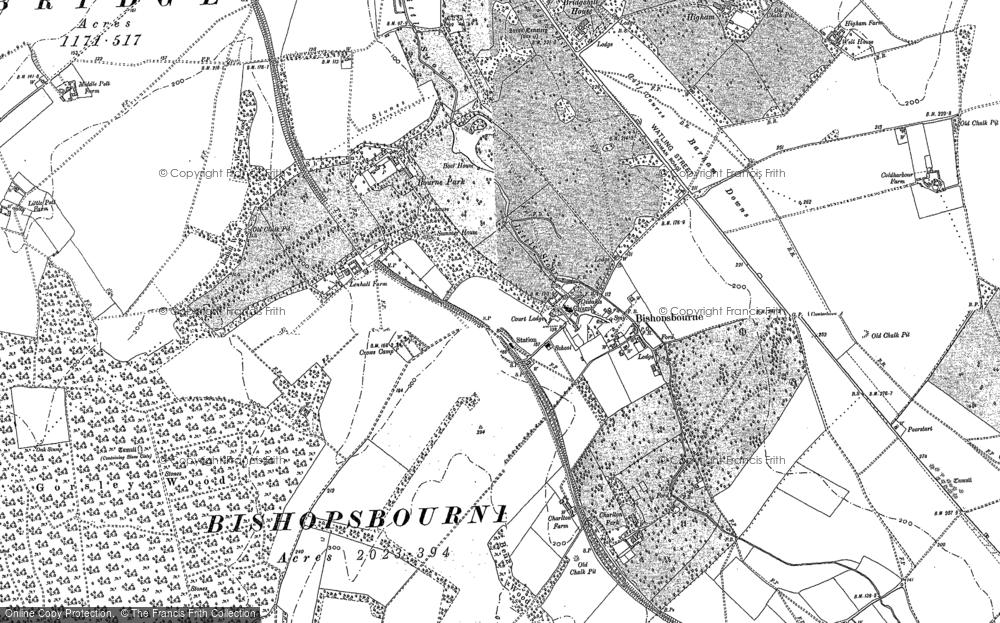 Old Map of Bishopsbourne, 1895 - 1896 in 1895