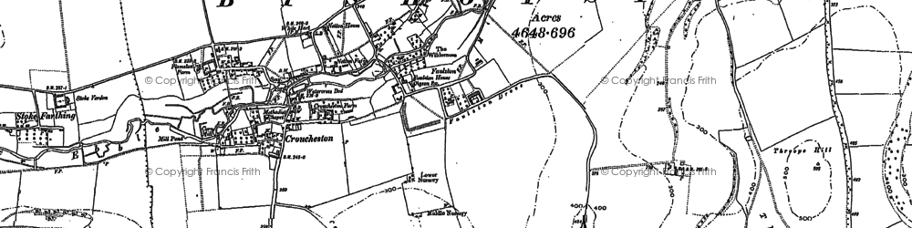 Old map of Bishopstone in 1884