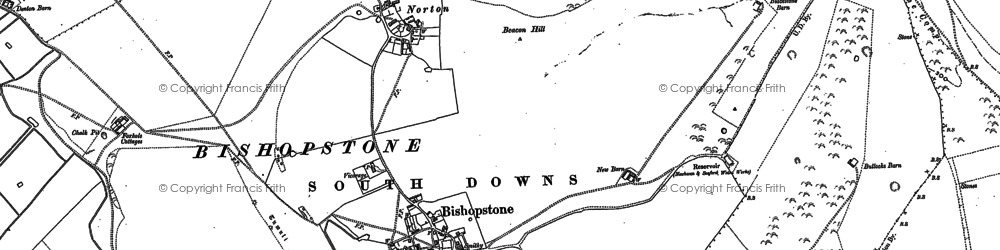 Old map of Bishopstone in 1908