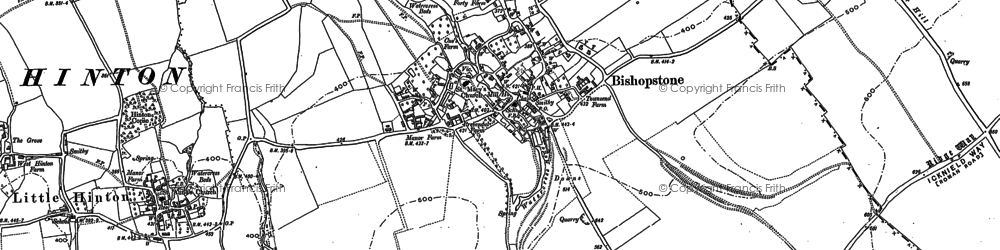 Old map of Bishopstone in 1910