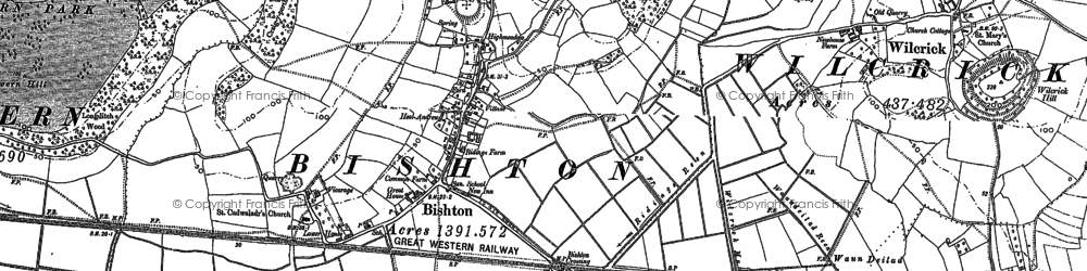 Old map of Bishton in 1900