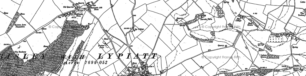 Old map of Bisley in 1882