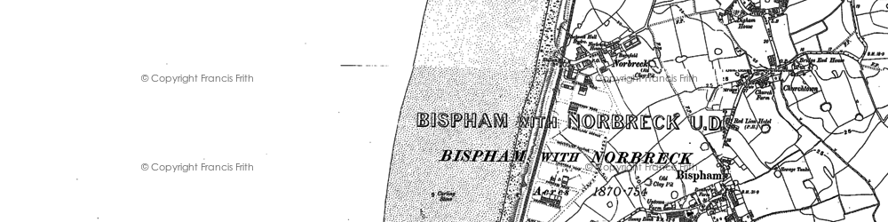Old map of Bispham in 1893