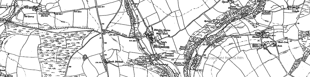 Old map of West Stowford Barton in 1886