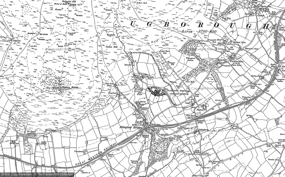 Old Map of Historic Map covering Western Beacon in 1886