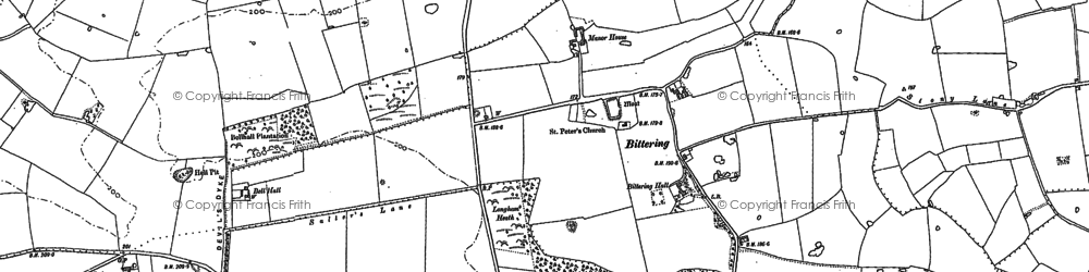 Old map of Launditch in 1883
