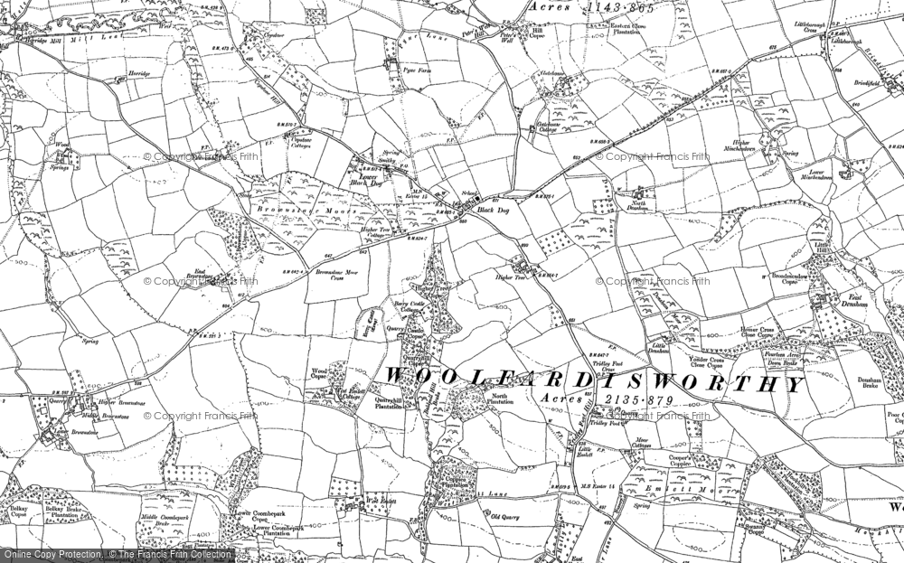 Old Map of Historic Map covering Wonham in 1887