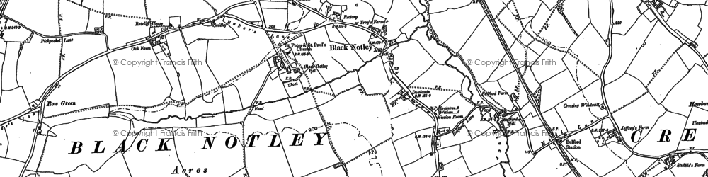 Old map of Black Notley in 1886