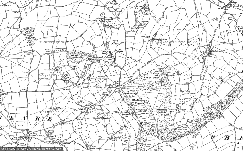 Old Map of Historic Map covering Leigh Court in 1887