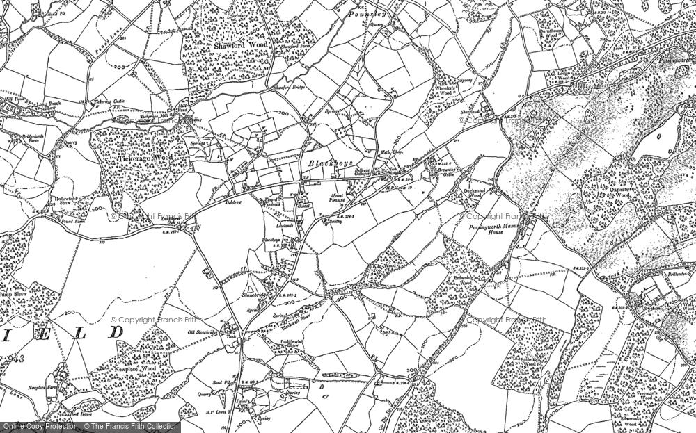 Old Map of Blackboys, 1898 - 1908 in 1898