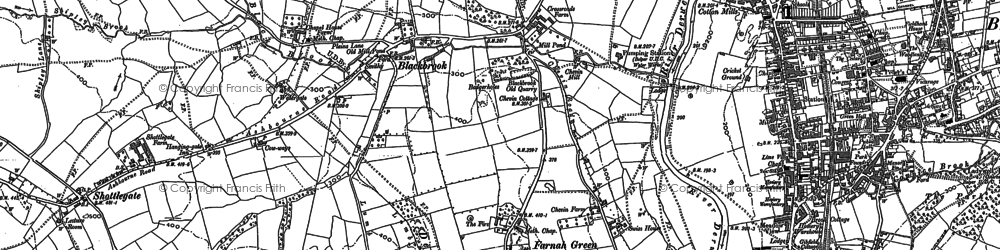 Old map of Belper Lane End in 1879