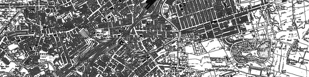 Old map of Blackburn in 1892