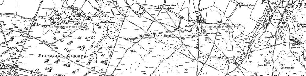Old map of Yateley Common in 1909