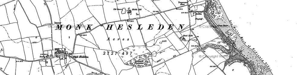 Old map of Blackhall Rocks in 1896