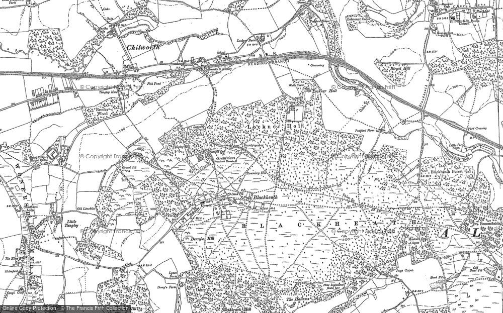 Old Map of Historic Map covering Wonersh Common in 1895