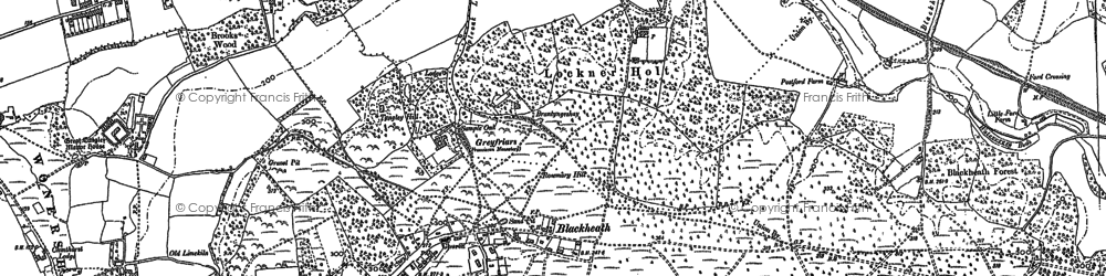 Old map of Wonersh Common in 1895
