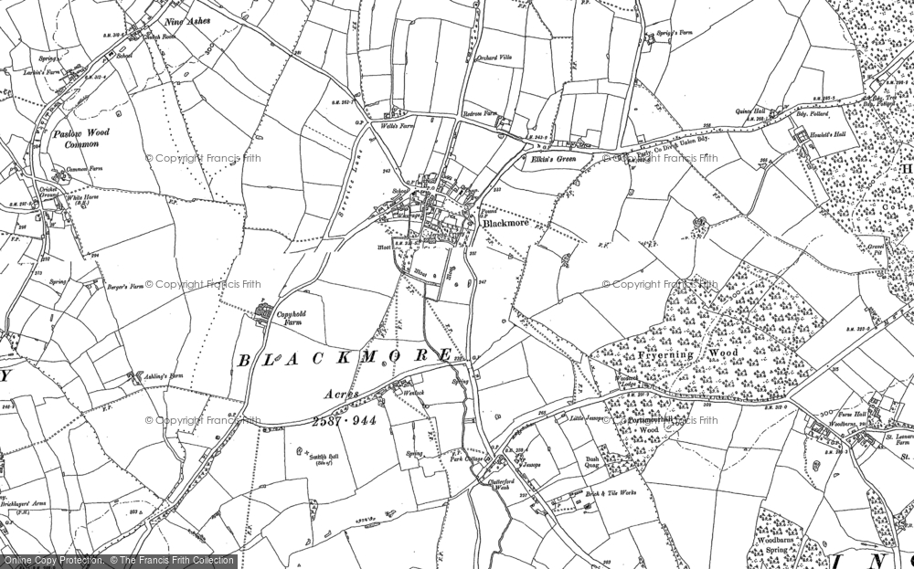 Old Map of Blackmore, 1895 in 1895