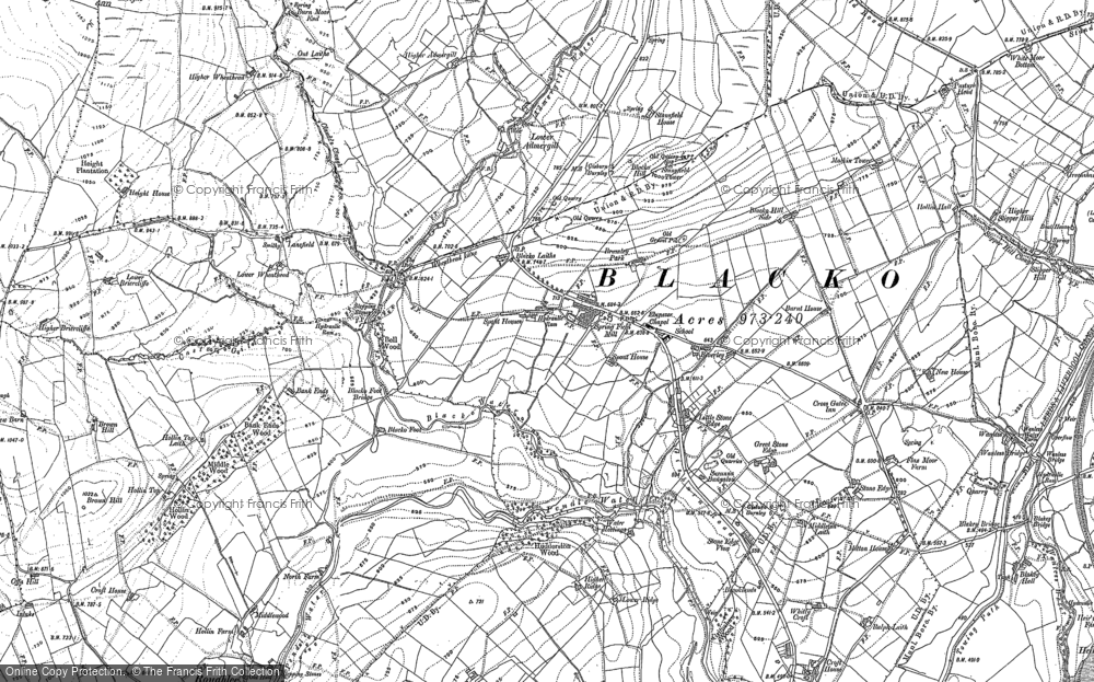 Old Map of Historic Map covering Admergill Pasture in 1910
